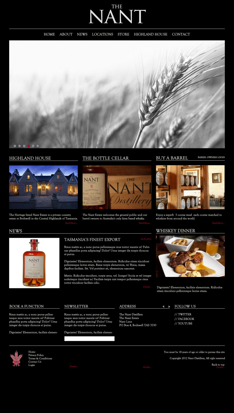 Nant Distilleries Website - Homepage
